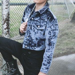 Topshop Blue Velvet Moto Jacket